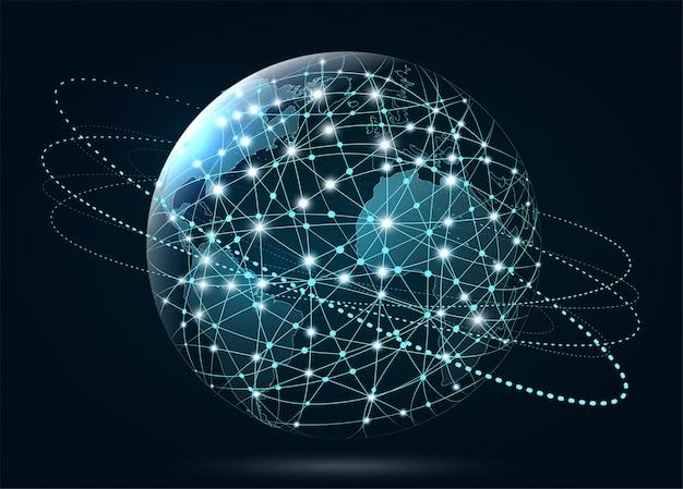 Conexión de red global. world wide web, conexión de líneas a