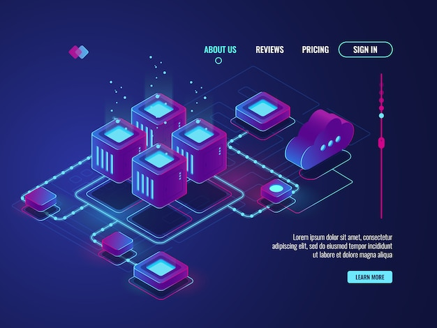 Conexión de red isométrica, concepto de topología de red de internet, sala de servidores