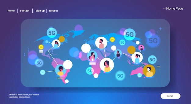 Conexión de sistema inalámbrico en línea 5g concepto de comunicación de burbuja de chat global mezclar raza hombres mujeres chateando mapa del mundo fondo vertical espacio de copia horizontal