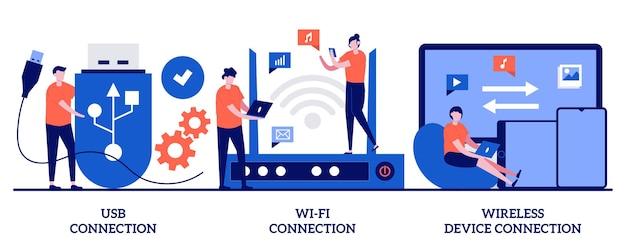 Conexión usb, ilustración de conexión de dispositivo de distancia wi-fi con personas pequeñas