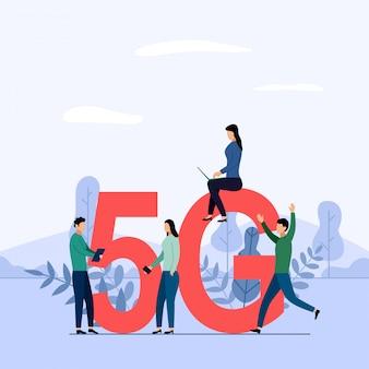 Conexión wifi de sistema inalámbrico de red 5g, internet móvil de alta velocidad. utilizando dispositivos digitales modernos, ilustración del concepto de negocio
