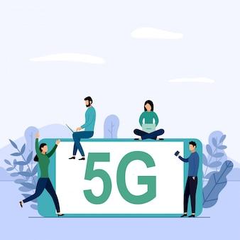 Conexión wifi de sistema inalámbrico de red 5g, internet móvil de alta velocidad. utilizando dispositivos digitales modernos, ilustración de negocios