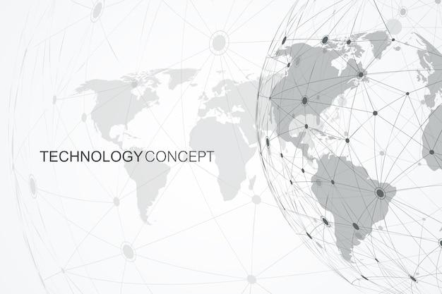 Conexiones de red global con mapa del mundo. fondo de conexión a internet. estructura de conexión abstracta. fondo del espacio poligonal. ilustración vectorial.