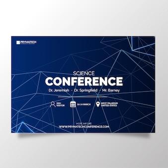 Conferencia de ciencia moderna con lineas abstractas.