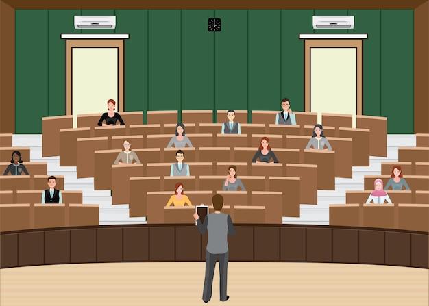 Conferencia de empresario o presentación en la sala de conferencias de la audiencia