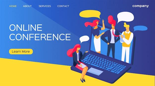 Conferencia en línea, empresarios en la ilustración de la computadora. trabajo de dibujos animados de video por internet, tecnología de llamada en pantalla.