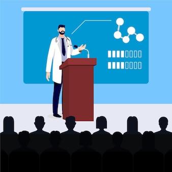 Conferencia médica de diseño plano