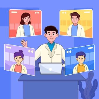 Conferencia médica en línea de dibujos animados