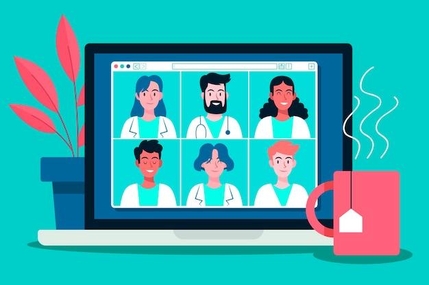 Conferencia médica en línea ilustrada