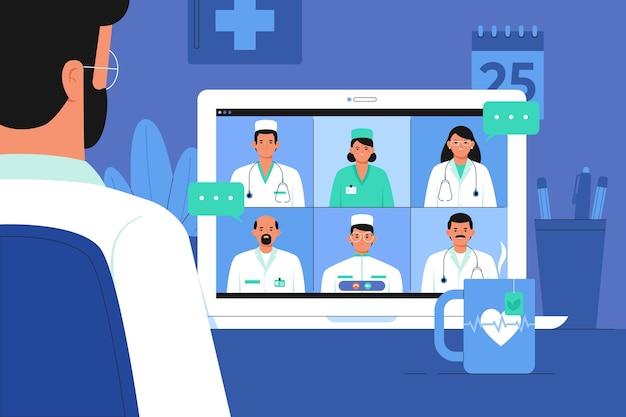 Conferencia médica en línea plana orgánica