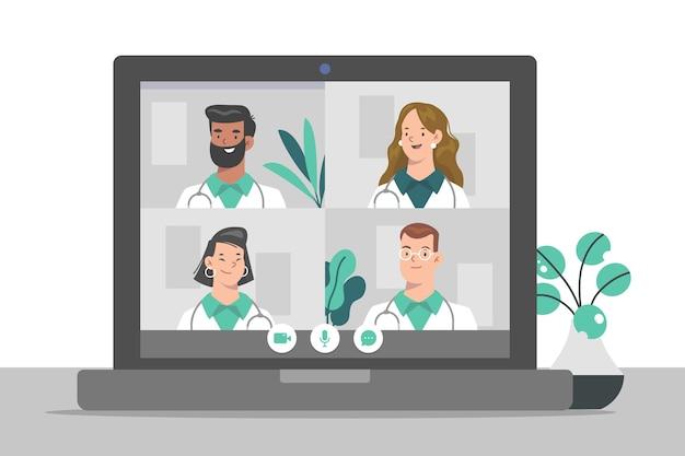 Conferencia médica en línea plana