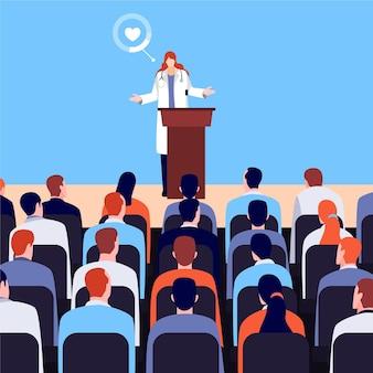 Conferencia médica plana