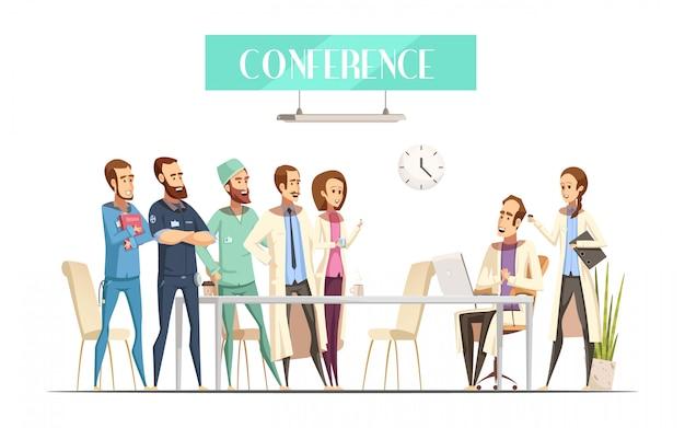 Conferencia médica con público cerca de la mesa y conferenciante con computadora y asistente de dibujos animados de estilo retro
