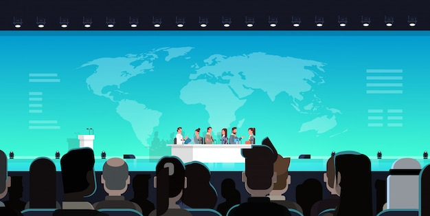 Conferencia de negocios debate público entrevista concepto reunión internacional oficial frente a big a