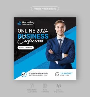 Conferencia de negocios marketing digital publicación en redes sociales o folleto de conferencia square