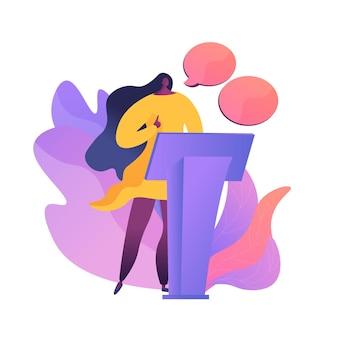 Conferencia de negocios, presentación corporativa. personaje plano orador femenino con burbujas de discurso vacías. debates políticos, profesor, seminario.