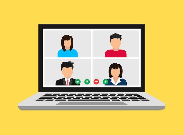 Conferencia online. videollamada. quédese y trabaje desde el concepto de casa