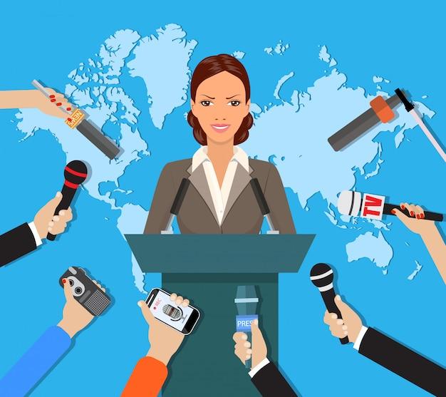 Conferencia de prensa, noticias mundiales de televisión en vivo, entrevista