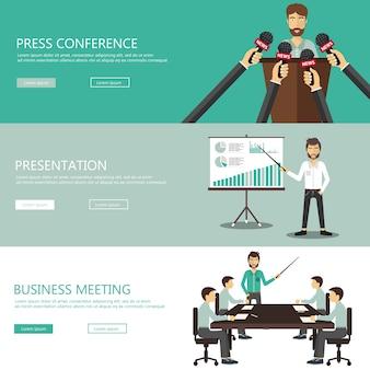 Conferencia de prensa, presentación, reunión de banners