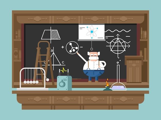 Conferencia del profesor. científico inteligente, educador y pedagogo, ilustración vectorial plana