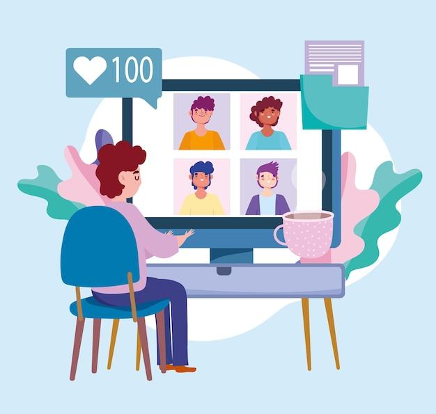 Conferencia de trabajo en equipo online