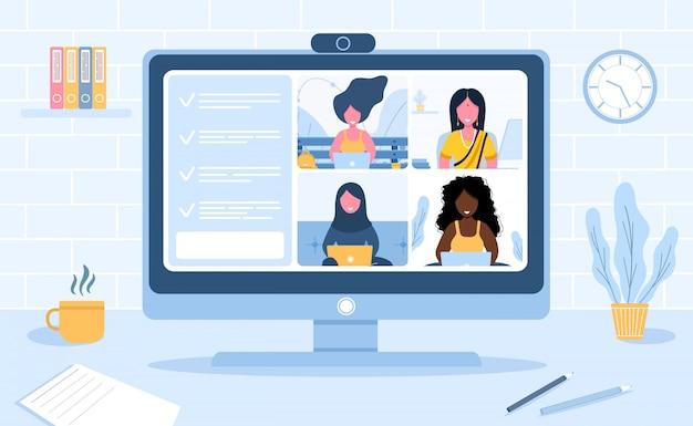 Conferencia de video llamada. trabajando desde casa. distanciamiento social. discusión de negocios. ilustración de estilo plano.