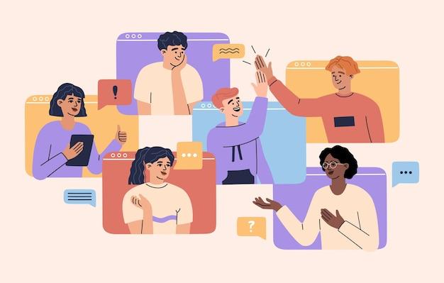 Conferencia virtual con hombres y mujeres, colegas del equipo, trabajadores, concepto de videollamada en línea en la pantalla de la computadora