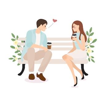 Confesión de pareja joven teniendo café boda o concepto de día de san valentín
