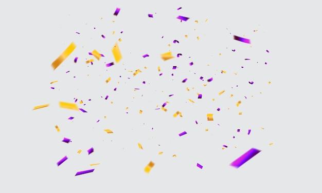 Confeti amarillo púrpura celebración cintas de carnaval.