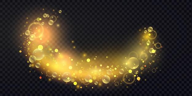 Confeti brillante abstracto efecto de luz de onda brillante remolino de brillo ondulado dorado mágico