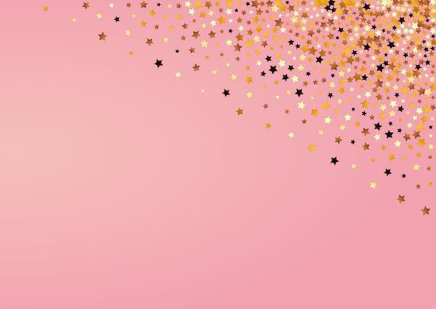 Confeti brillante vector fondo rosa. plantilla de brillo de luz amarilla. frontera de glamour estrellado. ilustración brillante brillante del universo.
