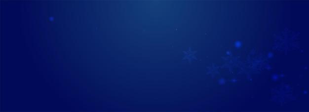 Confeti brillante vector pnoramic fondo azul. banner de estrellas sutiles blancas. telón de fondo de escamas de bokeh. fondo de pantalla de copo de nieve cayendo.