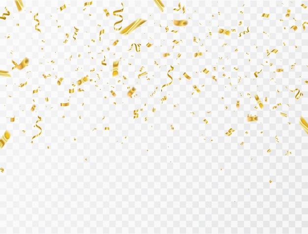 Confeti y cintas de oro.