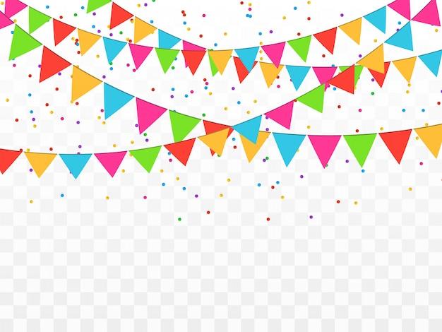 Confeti de colores aislado. fondo festivo. feliz cumpleaños. día de descanso.