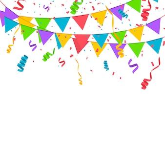 Confeti de colores aislados sobre fondo blanco. ilustración vectorial