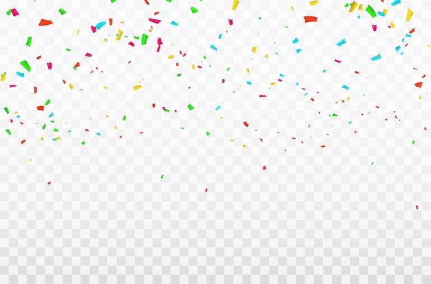 Confeti de colores cintas de carnaval de celebración.