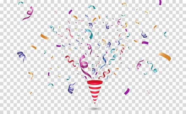Confeti de colores. festivo alegre. cono con confeti.