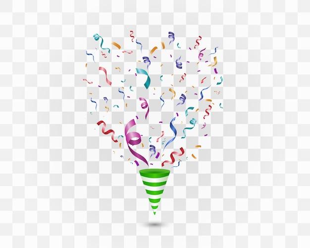Confeti de colores sobre un fondo blanco. fondo alegre festivo. cono con confeti.