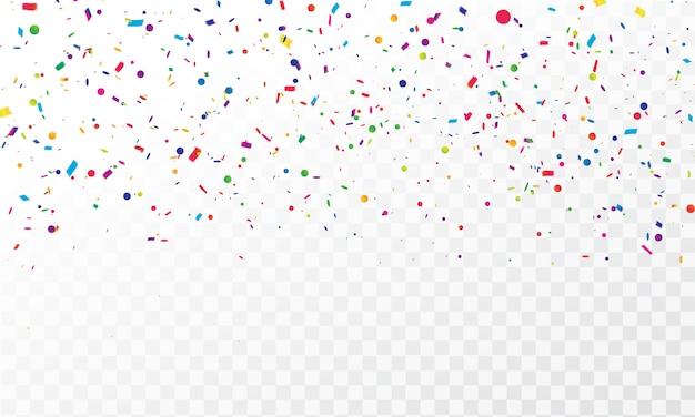 Confeti colorido celebración cintas de carnaval.
