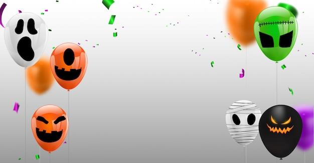 Confeti, concepto, diseño, globos, halloween