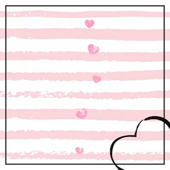 Confeti de corazones de purpurina rosa sobre rayas blancas. lentejuelas que caen con destellos brillantes. plantilla con corazones de purpurina rosa para invitación de fiesta, banner, tarjeta de felicitación, despedida de soltera.