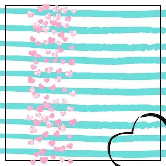 Confeti de corazones de purpurina rosa sobre rayas turquesas. lentejuelas brillantes que caen con brillo y destellos. diseñe con corazones de purpurina rosa para invitaciones a fiestas, despedidas de soltera y guarde la fecha de la invitación.