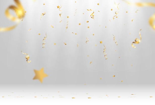 Confeti dorado cae sobre un fondo hermoso serpentinas que caen en el escenario