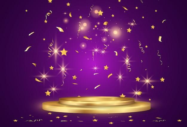 Confeti dorado cae sobre un hermoso fondo. serpentinas cayendo en el escenario.
