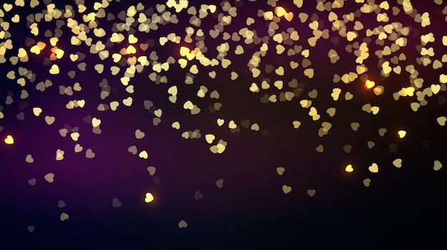 Confeti dorado corazones cayendo. fondo del día de san valentín en la oscuridad