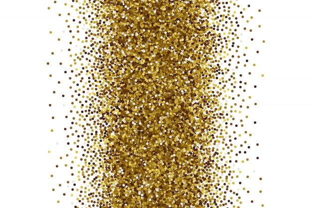Confeti dorado disperso sobre fondo blanco.