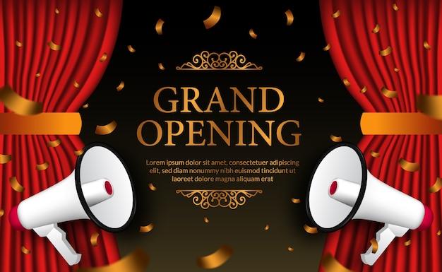 Confeti dorado de lujo para la plantilla de banner de cartel de gran inauguración con doble megáfono y cortina roja.