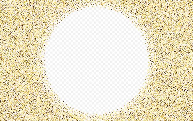 Confeti dorado sobre fondo transparente brillante