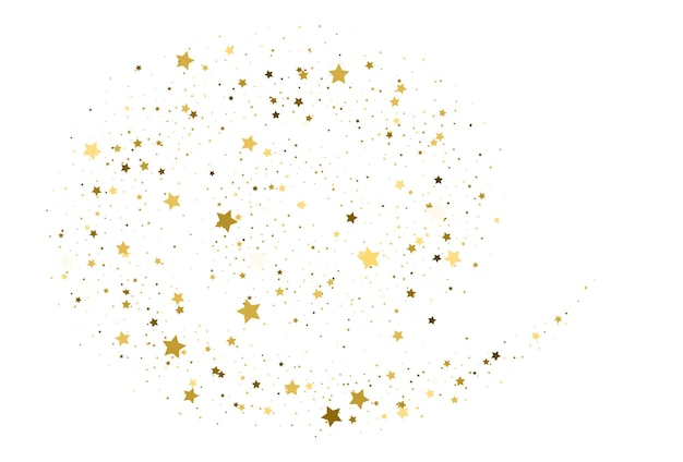 Confeti de estrellas voladoras de oro. fondo abstracto de onda de brillo dorado. destellos de oro sobre fondo blanco, diseño de plantilla