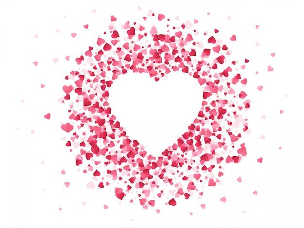 Confeti en forma de corazón. feliz día de san valentín marco encantador, tarjeta de felicitación de aniversario de boda con forma de papel de confeti rojo encantador de fondo de ilustración de corazón. telón de fondo romántico decorativo